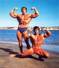 Arnold Schwarzenegger and Franco Columbu at the beach  #biceps #shoulders #muscle #chest #shredded #gym #gymlife #addict #triceps #oldschoolbodybuilding #instagym #mrolympia #fitness #bodybuilder #bodybuilding  #workout #training  #gymtime #gains #oldscho
