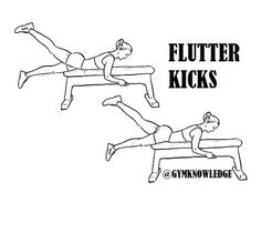 Flutter kicks targets glutes and hamstrings. Great ass workout