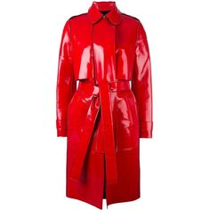 Carven vinyl trench coat ($890) ❤ liked on Polyvore featuring outerwear, coats, red, vinyl coat, red trenchcoat, carven coat, red coat and trench coat