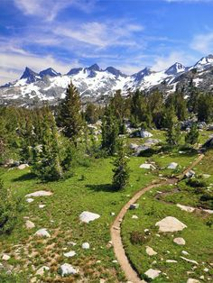 The Ritter Range runs down the spine of Ansel Adams Wilderness from Yosemite's Mt. Lyell to the Minarets west of Mammoth, California. This photograph was taken between Rush Creek and Donahue Pass.  The Pacific Crest Trail passes through the scene.  by Steve Dunleavy