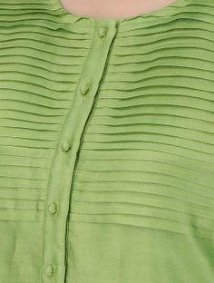 Green Round Neck Pintuck Chanderi Kurta