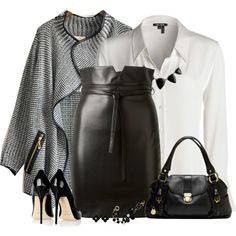 """Leather and Tweed"" by daiscat on Polyvore"