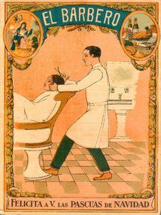 EL BARBERO Vintage Labels, Vintage Ads, Vintage Images, Vintage Posters, Vintage Designs, Retro, Old Signs, Vintage Advertisements, Barber Shop
