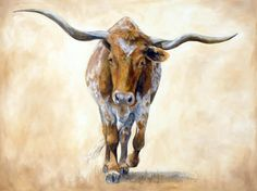 painting of longhorn cattle Longhorn Rind, Longhorn Cow, Longhorn Cattle, Cow Art, Horse Art, Watercolor Animals, Watercolor Art, Watercolor Pictures, Animal Paintings