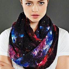 Give your outfit an out of this world touch by accenting it with this galaxy scarf. This infinity loop scarf is made from Chiffon fabric and comes printed with a colorful and vivid image of our majestic universe over its entire surface. Galaxy Fashion, Galaxy Print, Estilo Fashion, Loop Scarf, Looks Cool, Chiffon Fabric, Cool Outfits, Winter Fashion, Style Inspiration