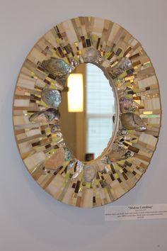 Creating a Tropical Bathroom on a Budget Mirror Mosaic, Mosaic Art, Mosaic Glass, Fused Glass, Mosaic Crafts, Mosaic Projects, Bowling Ball Art, Tropical Bathroom, Stills For Sale