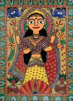 Lakshmi (Madhubani Folk Art on Paper - Unframed)