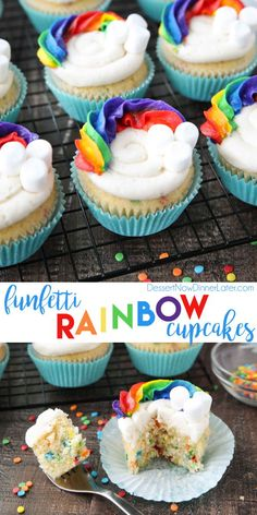 These Funfetti Rainbow Cupcakes are colorful inside and out! Homemade funfetti cupcakes are moist and full of sprinkles. Then topped with a colorful buttercream rainbow and mini marshmallow clouds. Super fun for birthday cupcakes, or add a pot of gold for Frost Cupcakes, Cupcakes Arc-en-ciel, Sprinkle Cupcakes, Rainbow Cupcakes, Easter Cupcakes, Birthday Cupcakes, Sweetie Cupcakes, Mocha Cupcakes, Holiday Cupcakes
