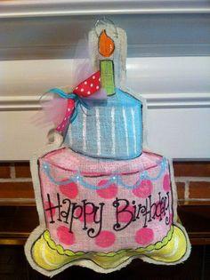Birthday cake burlap door hanger