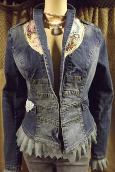 Cowgirl Chic Denim Jacket Romantic Upcycled by bluemermaiddesigns, $89.00