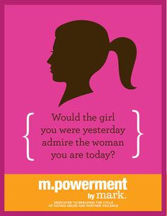 The m.powerment by mark.* program, dedicated to breaking the cycle of dating abuse and partner violence, will receive 1 dollar for every repin of this image (up to 10,000 dollars between 10/8/12-11/8/12). *Managed by the Avon Foundation for Women. Include the hashtags #pintervention or #mpowerment and really get the word out!