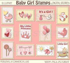 Baby Girl Stamps Digital Clipart Newborn Pink by DigitalStories, €2.30
