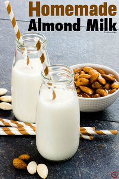 Very EASY Homemade Almond Milk. A perfect substitute for cow milk. Use it in smoothies, milkshakes or cakes. giverecipe.com