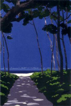 Art Japonais, Paper Artwork, Environment Concept Art, Japan Art, Illustrations And Posters, New Wall, Beach Art, Watercolor Illustration, Cute Art