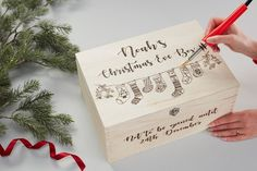 Pyrography Xmas Eve Box (can do for other events too! Christmas Eve Box For Kids, Wooden Christmas Eve Box, Xmas Eve Boxes, Personalised Christmas Eve Box, Christmas Makes, Homemade Christmas, Christmas Diy, Personalised Gifts To Make And Sell, Holiday
