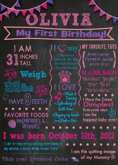 Chalkboard Sign Birthday Keepsake - DIY Printable - First Birthday, Second Birthday, Third Birthday, Birth Stats, All About Me, Milestones on Etsy, $8.00