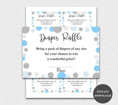Diaper Raffle Ticket Cards Printable Boy Baby Shower Games Diaper Raffle Insert for Boys Baby Shower invitations Instant Download (l21dr) by diymyparty on Etsy