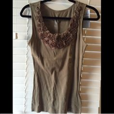 Dark taupe cami Dark taupe cami with flowers along the neckline. Never been worn! Tommy Hilfiger Tops Camisoles