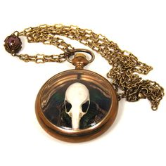 Steampunk Skull Necklace OSSUARY RELIC Genuine Rat Skull Baroque Pearls Peacock Guinea Feathers One of a Kind ONLY from Nouveau Motley