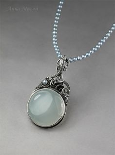 """""""Over the waves"""". Hand formed silver (999&925), chalcedony and pearls. One of a kind. You can find my jewellery on my  website: www.drakonaria.com"""