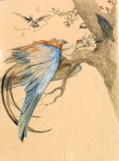 Art Nouveau Paintings | Blue Bird (Bird Sirin) - Sergey Solomko - WikiPaintings.org