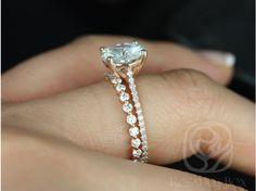 Rosados Box Eloise 9mm & Petite Naomi 14kt Rose Gold Round FB Moissanite and Diamonds Cathedral Wedding Set
