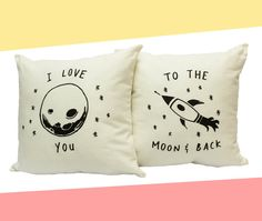 I love you to the moon and back - His and Hers Pillow Covers 18 x 18 inch via Etsy