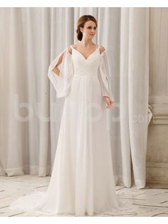 Chiffon V-Neckline Floor Length Column Wedding Dress with Ruffle