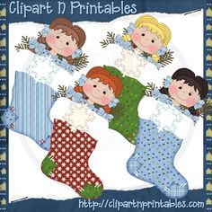 Chubby Elf Stockings 2- #Clipart #ResellableClipart #Christmas #Stockings #Elf #Girls