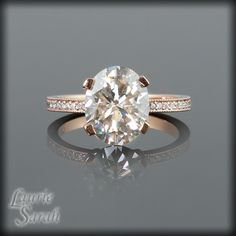 Oval Moissanite and Diamond Solitaire Engagement Ring in 14kt Rose Gold