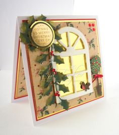 Christmas card using my new Tonic window die with Marianne design topiary tree and Die'sire ivy. http://anotherdayanothercard.blogspot.co.uk/2013/12/christmas-cards.html