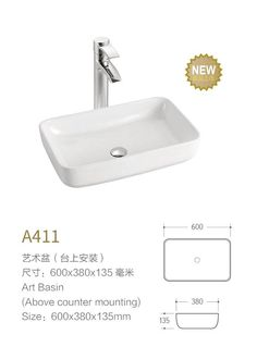 Product Name Bathroom Sinks Model No DB A411 Dimension600X380X135mm