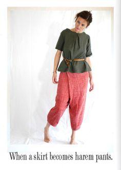 DIY transformation of skirt into fun harem pants.