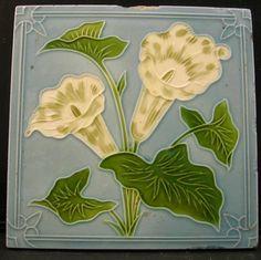 Attractive Antique Art Nouveau Tile by HENRY OLLIVANT c1906 #ArtNouveau