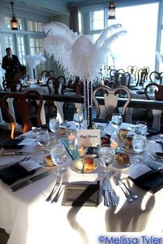 Gatsby party - added lots of feather detail! Roaring 20s Party, Gatsby Themed Party, 1920s Party, Roaring Twenties, Themed Parties, The Great Gatsby, Great Gatsby Wedding, 20s Wedding, Wedding Ideas