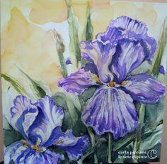 Iris dipinti ad acquerello su pura seta Mi piace creare effetti indefiniti, contorni imprecisi, macchie di colore....E' un po' come lasciare spaziop alla fantasia di chiunque osservi il dipinto
