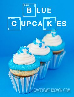 Cupcakes with Blue Sanding Sugar Rims...change out cupcake flavor, colors and sprinkles as desired.