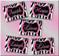 Hot Pink Zebra Print FAITH Hope LIVE Love by collagebycollins, $19.99