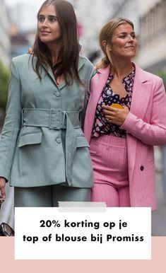 Een pak is een van de meest stijlvolle kledingstukken die je kan hebben liggen in je kast.   Toch is een pak niet compleet zonder een top of een blouse eronder. Laat Promiss nou net de plek zijn waar je je zakelijke look compleet kan maken. Je krijgt namelijk t/m 1 maart 20% korting op verschillende blouses en tops bij de aankoop van een tweedelig pak.   Business | Werk | Outfit | Look | Mode | Fashion | Pak | Suit Up | Promiss | Korting | Deal | Inspiration | Inspiratie | More On… Office Looks, Suits, Suit, Wedding Suits, Office Attire