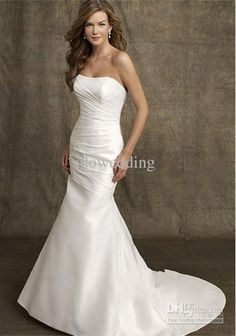 fe95347f6e Simple White Taffeta Strapless 2014 Mermaid Wedding Dresses Pleat Sweep Train  Bridal Gowns B 93 Bridal Gowns With Sleeves Discount Designer Wedding  Dresses ...