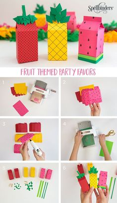 Fun party favors to match any theme - fill with candy, confetti or gifts! The More Than Milk Carton Etche Fun party favors to match any theme - fill with candy, confetti or gifts! The More Than Milk Carton Etched Die is versatile and easy to put together! Kids Crafts, Summer Crafts For Kids, Cute Crafts, Summer Diy, Fruit Birthday, Birthday Box, Birthday Gifts, Birthday Parties, Diy Gift Box