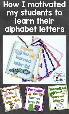 How I Motivated Students to Learn Their Alphabet Letters with Brag Tags / Rewards & Books - Lessons for Little Ones by Tina O& Teaching Letters, Preschool Letters, Learning The Alphabet, Alphabet Letters, 26 Letters, Letter Tracing, Alphabet Books, Learning Spanish, Preschool Name Tags