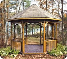 Fence-All Open Cedar Gazebo Outdoor Play Areas, Outdoor Rooms, Outdoor Structures, Gazebo Plans, Asphalt Roof Shingles, Backyard Gazebo, Home Landscaping, Types Of Wood, Fence