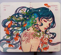 [Breath] Art illustration by Qinni. Art And Illustration, Art Inspo, Qinni, Art Mignon, Art Asiatique, Oeuvre D'art, Cute Art, Amazing Art, Art Reference
