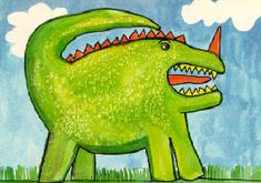 """Free art projects and lesson ideas from KidsArt.com...including the Spotted Dragon from """"Top Ten Tricks with Watercolor Paint."""""""