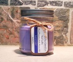 Lavender  Soy Mason Jar Candle by SugarBelleCandles on Etsy, $10.00