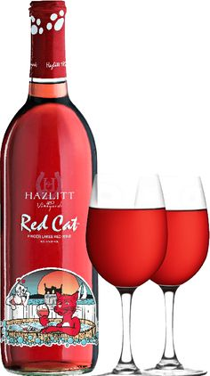 Hazlitt's Red Cat wine...The first sweet red I EVER tasted. Still one of my faves; crisp and fresh, like a cold apple.