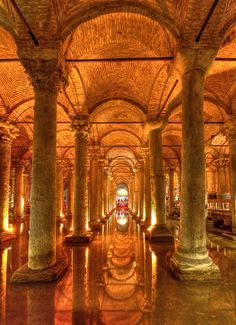 Underground Basilica Cistern, Istanbul, Turkey –  the largest of several hundred ancient cisterns that lie beneath the city.   Istanbul Hotels Guide