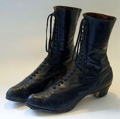 LARGE size women's black leather boots c 1910 by kickshaw on Etsy, $85.00