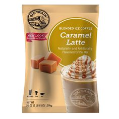 Offer irresistible caramel flavor in your coffee beverages with this Big Train caramel latte blended ice coffee mix! With a name symbolizing strength and constant motion, Big Train has expanded into a global foodservice brand you can trust with a large number of diverse products to choose from. Big Train has become a leader in the specialty beverage mix industry, delivering easy-to-make and consistently-delicious products.<br><br> This creamy latte-flavored drink mix includes sug...